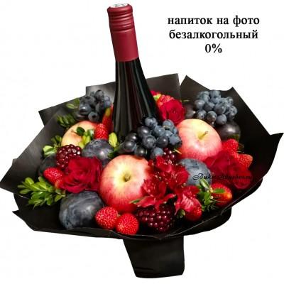 Женский букет с вином безалкогольным
